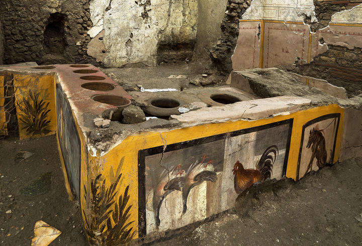 The paintings on this counter have been preserved for nearly two millennia.