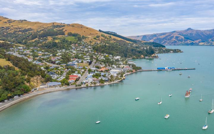 Aerial view of waterfront of Akaroa, New Zealand.
