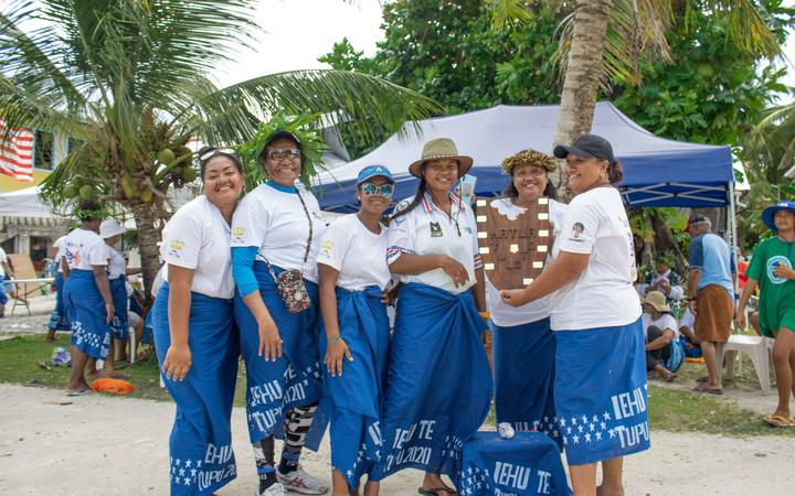 Team Amelika women hold the winner's shield for this year's tournament, which they managed to retain.