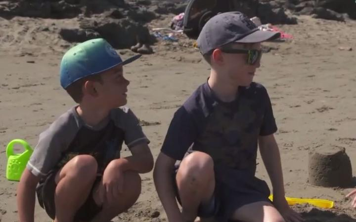 Sam Kerr, left, and his brother, Nathan Kerr at Christuch's Sumner Beach