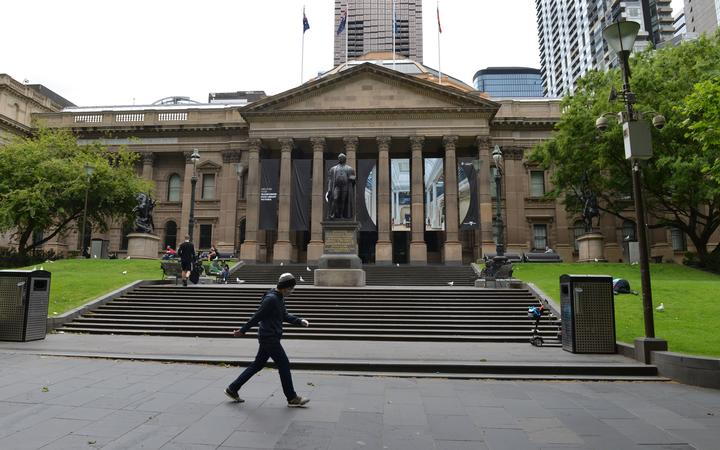 MELBOURNE, AUSTRALIA - OCTOBER 18: A view of nearly empty street during the strict restrictions due to the novel coronavirus (COVID-19) pandemic in Melbourne, Australia on October 18, 2020.