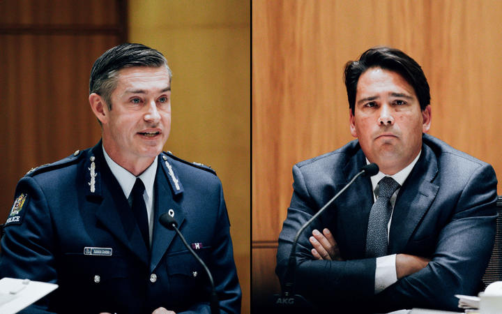 Police Commissioner Andrew Coster, National Party MP Simon Bridges.