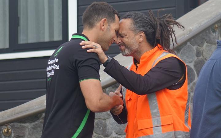 Nga Mahanga a Tairi hapu member Tane Manu, left, and Towards Predator-Free project manager Toby Shanley