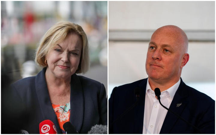National Party leader Judith Collins and National MP Christopher Luxon.