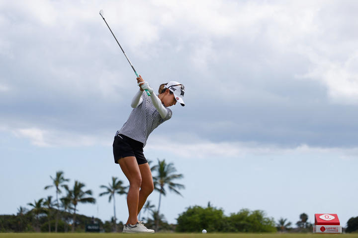 Lydia Ko plays a tee shot on the 12th hole during the final round of the LPGA LOTTE Championship at Kapolei Golf Club
