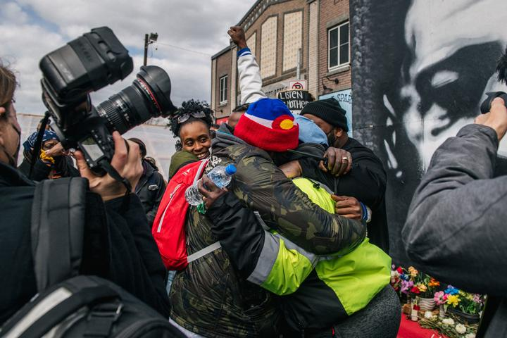 People celebrate in Minneapolis, Minnesota, after hearing the verdict in Derek Chauvin trial.