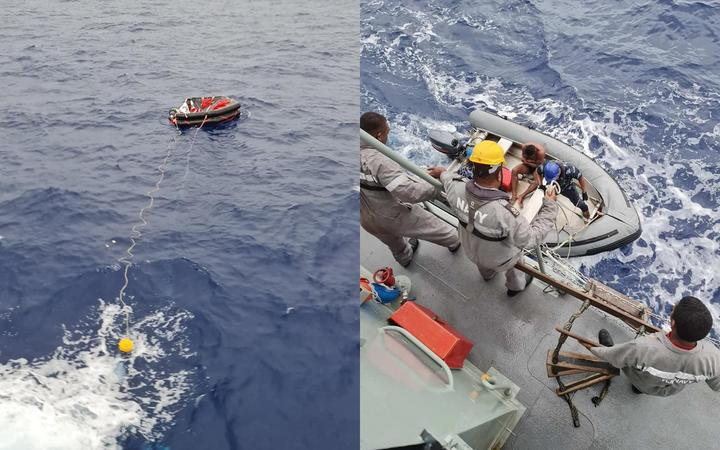 A crewman of the TIRO II is rescued by members of the Republic of Fiji Navy rescue.