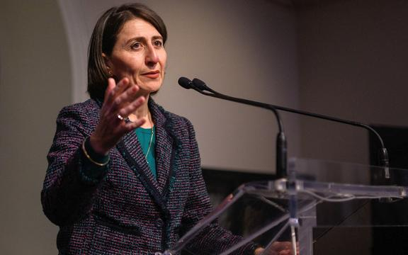 New South Wales Premier Gladys Berejiklian speaks after a State Library tour by the visiting Netherlands Prime Minister Mark Rutte in Sydney on October 9, 2019.