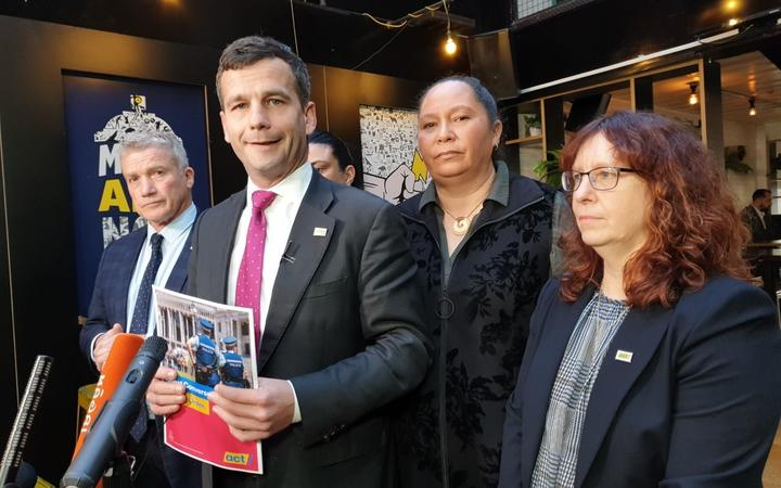 ACT leader David Seymour, second left, with (from left) MPs Chris Baillie, Karen Chhour, Nicole McKee and Toni Severin.