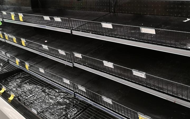 Empty meat shelves at an Auckland Countdown on Saturday night.