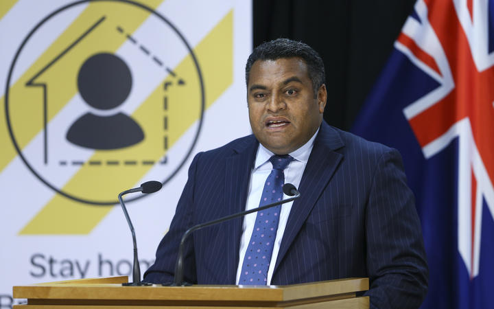 Minister for Broadcasting, Communications and Digital Media Kris Faafoi speaks during a media conference at Parliament on 23 April 2020.