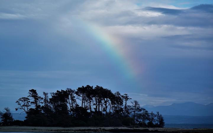 A rainbow over Haulashore Island.