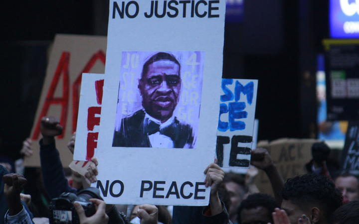 A placard at the George Floyd / Black Lives Matter Auckland march on 1 June.