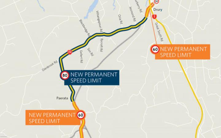 A map from NZTA showing the new speed limits on State Highway 33 and State Highway 30 in the Bay of Plenty.