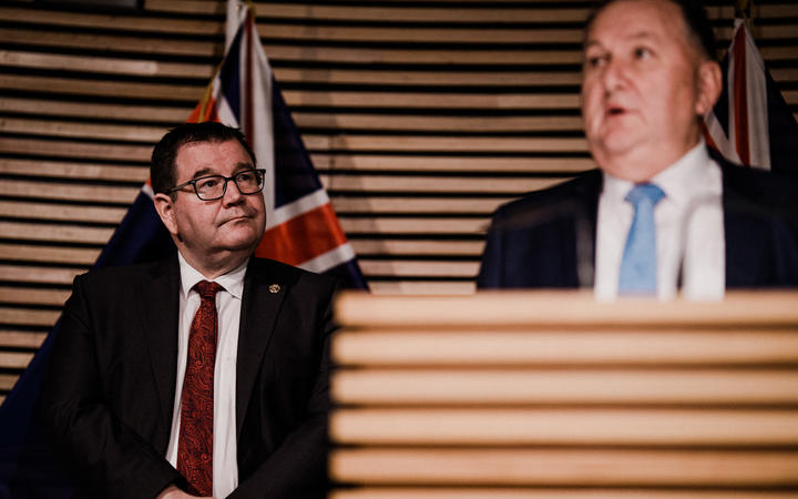Infrastructure Minister Shane Jones and Minister of Finance Grant Robertson revealing the details on the $3 billion infrastructure spend on 1 July, 2020.