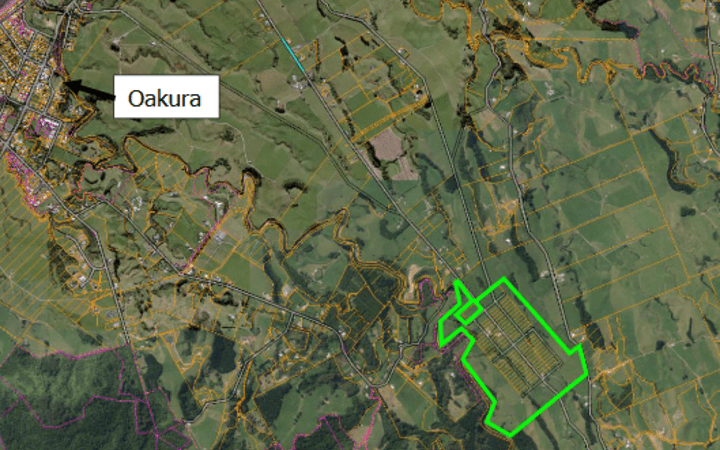 A map showing the land owned by Green School in Taranaki.