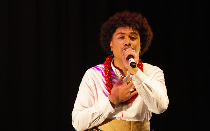 John Paul Foliaki on stage in I AM in South Auckland's Mangere Art Centre.
