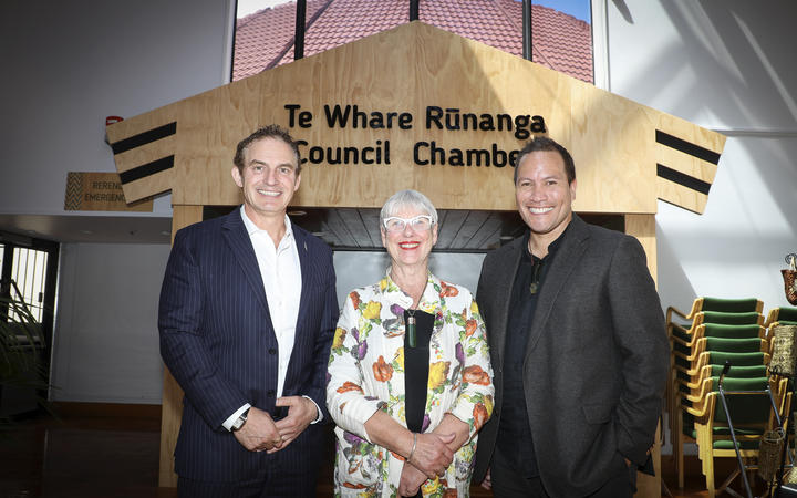 Tourism Minister Stuart Nash, Rotorua Mayor Steve Chadwick, and Labour MP Tamati Coffey.