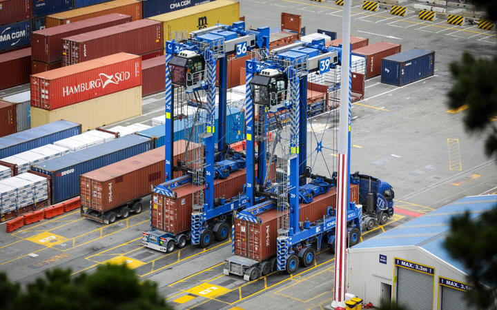 Containers being unloaded at Lyttelton Port