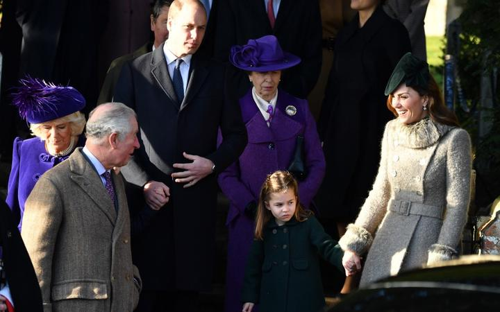 Camilla, Duchess of Cornwall, Prince Charles, Prince of Wales, Prince William, Duke of Cambridge, Princess Anne, Princess Royal, Princess Charlotte of Cambridge and Catherine, Duchess of Cambridge, leave  at St Mary Magdalene Church in Sandringham, on December 25, 2019.