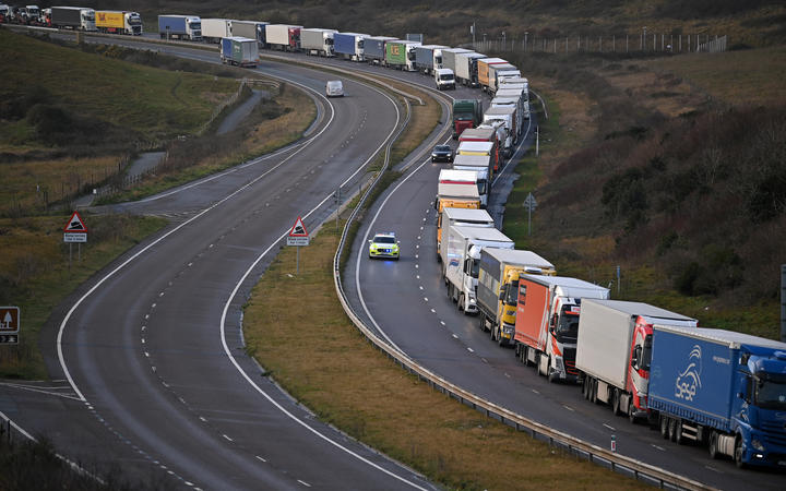 The Dover Traffic Access Protocol (TAP) scheme on the A20 is seen in action as freight lorries queue on the main route into the port of Dover on the south coast of England on December 17, 2020.