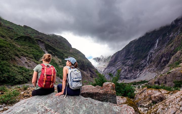 Hiking at the Franz Josef Glacier, New Zealand. Travel, toursim.