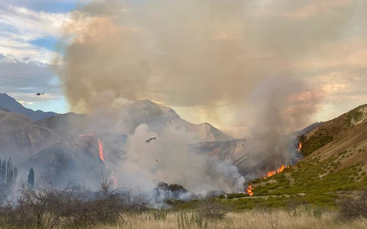 A fire in the Ka Whata Tu O Rakihouia Conservation Park in the Clarence Valley near Kaikoura.