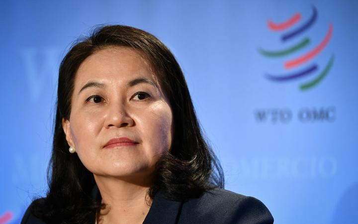 South Korean Trade Minister Yoo Myung-hee attends a press conference following her hearing before 164 member states' representatives, as part of the application process to head the World Trade Organization (WTO) as Director General in Geneva on July 16, 2020. -