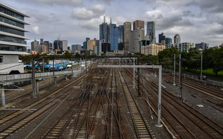 A general view shows train tracks next to Melbourne Park on day six of the Australian Open tennis tournament in Melbourne on 13 February