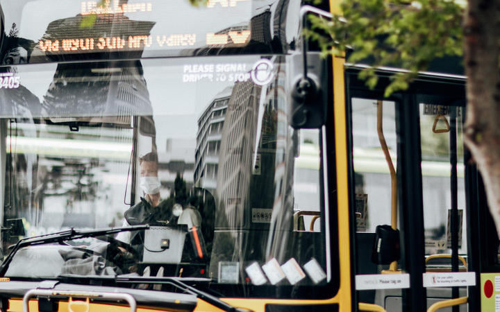 A bus driver during level 2 in Wellington on15 February 2021