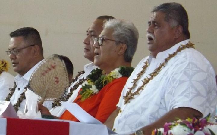 From left, Faumuina Wayne Fong, Olo Fiti Vaai, former Deputy PM Fiame Naomi Mataafa and La'auli Leuatea Polataivao