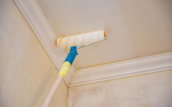 painting a gypsum plaster ceiling with paint roller. repairs