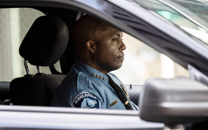 Minneapolis Police chief Medaria Arradondo drives a vehicle as he leaves the Hennepin County Government Center on April 5, 2021 in Minneapolis, Minnesota.