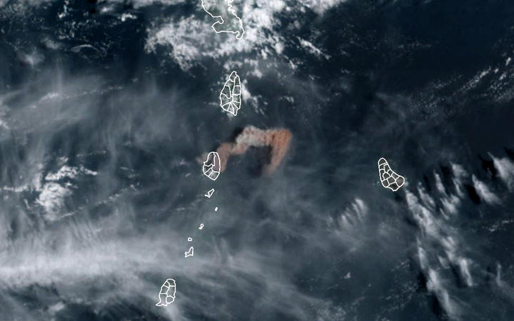 April 9, 2021, image from the National Oceanic and Atmospheric Administration shows the eruption of La Soufriere Volcano in Saint Vincent.