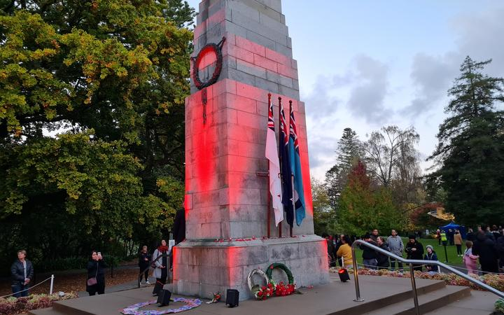 The Cenotaph in Hamilton after the dawn service.
