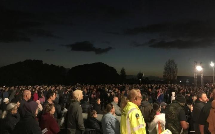 The sun rises during the dawn service in Auckland.