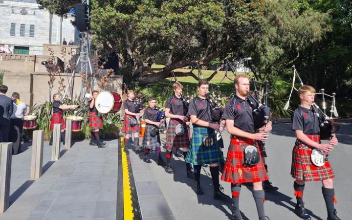 The National Youth Pipe Band of New Zealand at the 11am Anzac Day service in Wellington.