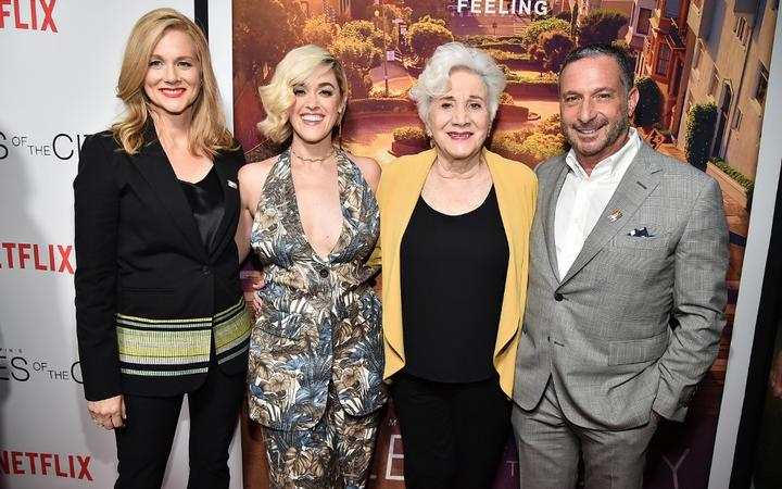 """NEW YORK, NEW YORK - JUNE 03: Laura Linney, Laura Morelli, Olympia Dukakis and Alan Poul attend """"Tales Of The City"""" New York Premiere at The Metrograph on June 03, 2019 in New York City."""