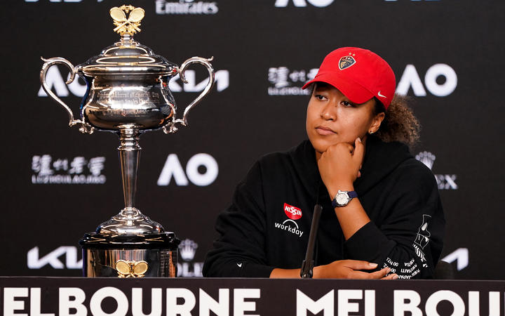 Naomi Osaka speaks at a press conference after winning her women's singles final match on day 13 of the Australian Open tennis tournament in Melbourne on February 20, 2021.