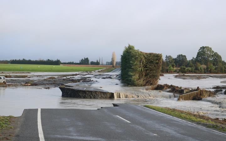 Thompsons Track in Mid Canterbury was washed out by floods after days of heavy rainfall.