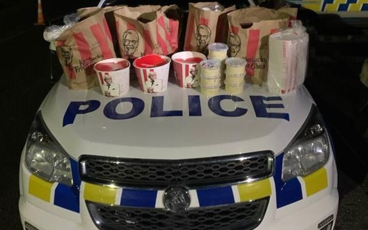 """Police say the offenders were found with  """"a car boot full"""" of KFC."""