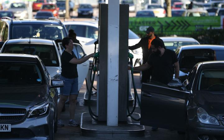 LONDON, ENGLAND - SEPTEMBER 29: Long queues are seen in front of petrol stations in London, United Kingdom on September 29, 2021.