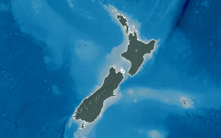Extended area of outlined New Zealand. Colored elevation map. 3D rendering