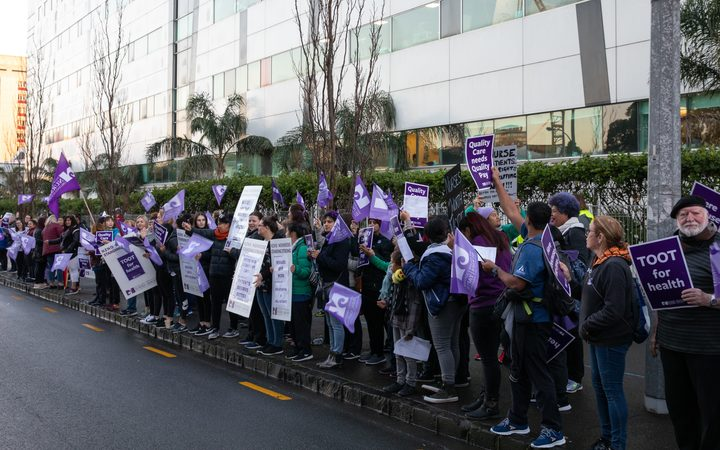 Nurses protest on the streets of Auckland as they take industrial action after failed negotiations.