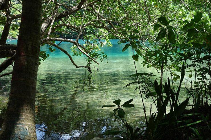The famous Blue Lagoon in Port Antonio, Jamaica
