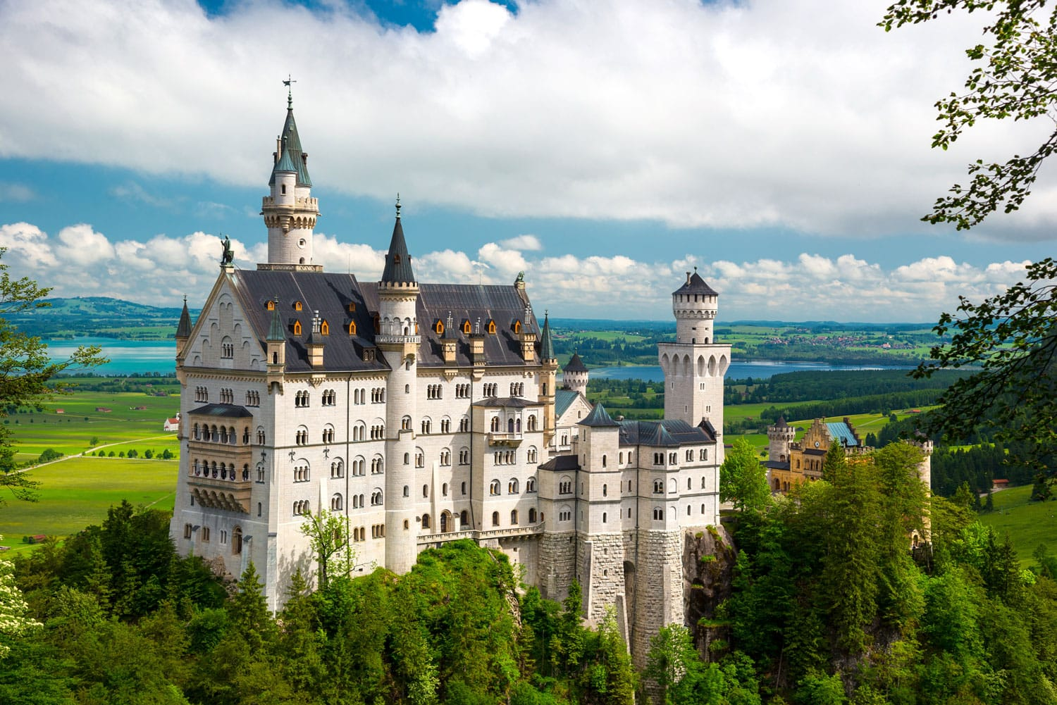 Neuschwanstein Castle on the top of the mountain in Bavaria, Germany