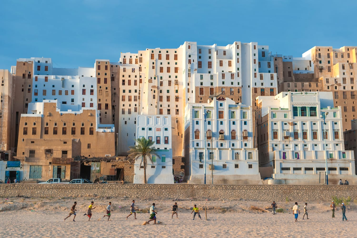 Yemeni boys playing soccer at Shibam, Hadramaut province, Yemen
