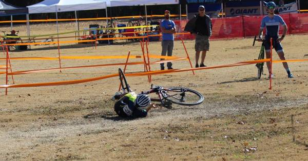 cyclocross bike crash during race