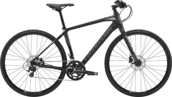 Cannondale hybrid road bike with flat bars carbon frame and fork
