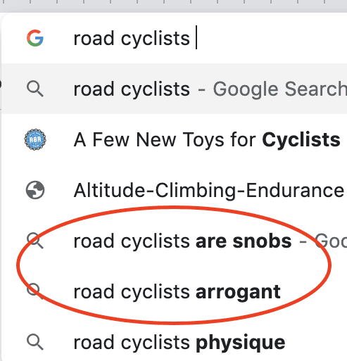 Are Road Cyclists Arrogant Snobs?
